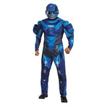 Disfraz Halo Azul Spartan Hombre Traje Con Musculos Adulto