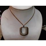 Collar Cadena Con Colgante Metal Dorado Y Strass