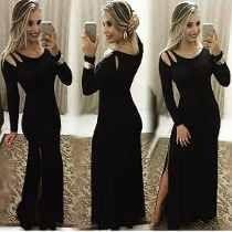 Vestido Longo De Malha Com Abertura Dos Lados