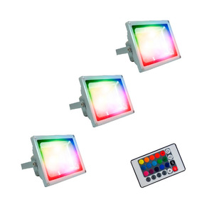 Lampara Reflector Led 30w Rgb Con Control X3 Promo