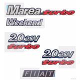 Emblema Marea Weekend Turbo + Laterais 2.0 20v Turbo + Fiat