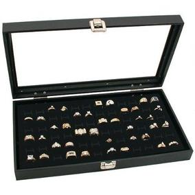 Top Glass Display Negro Caja De Joyeria 72 Slot Anillo Band