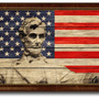Abraham Lincoln Memorial Textured Flag Print With Brown Gold