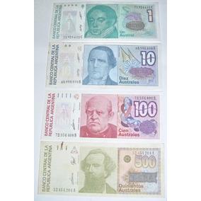 Argentina:lote 4 Billetes 1/10/100/500 Australes S/circular