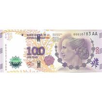 Billete Argentina $100 Nueva Serie Aa Sin Circular Palermo