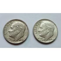 Lote 2 Monedas Usa One Dime 1963 D 1964 D Plata Excelentes