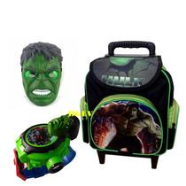 Kit Mochila Escolar Infantil C Rodinhas Personagem Hulk