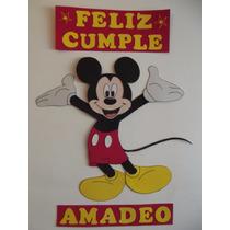 Cartel Feliz Cumple! Mickey En Goma Eva