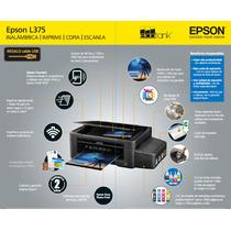 Impresora Epson L375 Original Tinta Continua + Wifi+papel