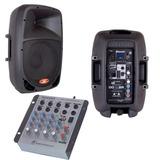 Kit Caixa Ativa 10 Bluetooth + Passiva 10 + Mesa Som 4 Canal