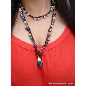 Collar Hippie Tejido Crochet Cristales Y Piedras Naturales