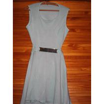 Vestido Corto Minifalda Verde Agua Falda Campana Espalda