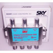 Chave Comutadora Saida 4 Receptore Banda C Ku Antena Uhf Vhf
