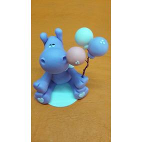 Adorno Torta Infantil Hipopótamos En Porcelana Fria