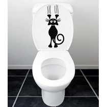 Vinilo Decorativo Diseño Gato Cat Baño Wc
