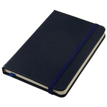Caderneta Tipo Moleskine Couro Grande Pautado 14x21 Az