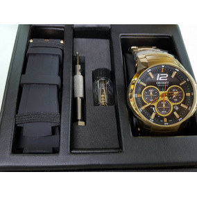 Relógio Orient Kit Masculino Dourado Solar Mgssc017 - 100m