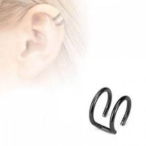 Ear Cuff Falso De Acero Inox Negro Diseño Conciencia Doble