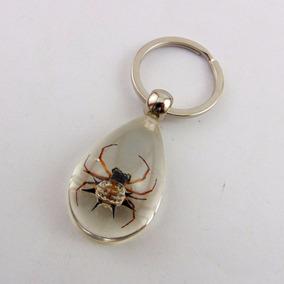 Chaveiro Resina Transparente Com Aranha