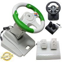 Volante Xbox 360 Dual Shock Pedal 180º Graus Game Pc Ventosa