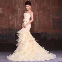 Vestido Noiva Sereia Decote Coração Organza Renda Barato