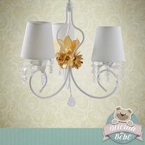 Lustre Luminaria Flor Provançal Bebê P/ 3 Lampadas Cristal