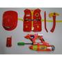 Pistola De Agua Colete Machado Capacete Bombeiro Infantil