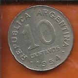 Moeda Argentina 10 Centavos Peso Ano 1954 19mm