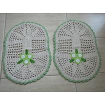 Par De Tapetes Crochê Em Barbante - Oval - Bordado Flores