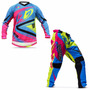 Kit Roupa Motocross Trilha Protork Insane 4 Azul Pink