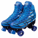 Patins Tradicional Azul C/4 Rodas Roller Skate Fênix Nº34/35