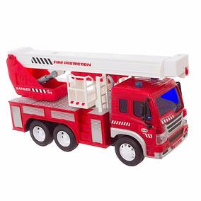 Caminhão De Bombeiro Com Luz E Som Brinquedo Shiny Toys
