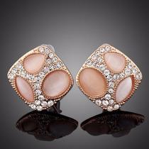Tres Ojos Chapado En Oro Rosa Cristales Swarovski