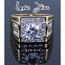 Anel Luxo Banho Ouro 24k Diamante Sintético 2ct + Frete Grat