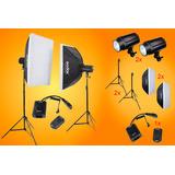Kit Godox Equipo De Iluminación 200w Softbox Tripies Y Radio