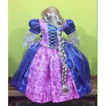 Vestido Disfraz De Princesa Rapunzel Y Peluca