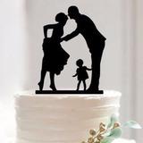Topo De Bolo Acrílico Preto Casamento Noivado Casal + Filha