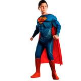 Fantasia Heroi Super Homem Superman Homem De Aço C/ Musculos