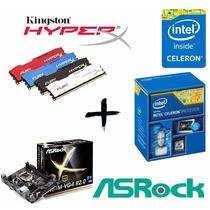 Kit Proc G1820 + Asrock H81m-vg4 + 2xmemória 4gb Hyperx Fury