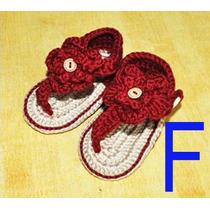 Sandálias Bebe Dedinhos De Fora Com Flor De Croche