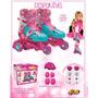 Patins Ajustável 3 Rodas Barbie C/ Acessórios Seg. 29 A 32