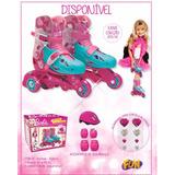 Patins Barbie Ajustável 3 Rodas C/ Acessórios Segura 29 A 32