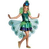 Disfraz De Pavo Real Para Niña Talla M - Verde