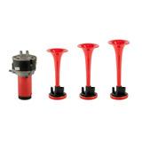 Buzina Para Moto Eletropneumática Com 3 Cornetas Vermelhas