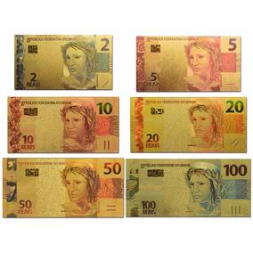 Brasil 6 Cédulas Fantasias Banhada A Ouro .