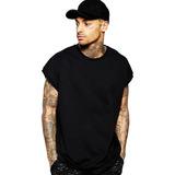 Camisa Masculina Camiseta Longa Sleeveless Rap Hip-hop Swag