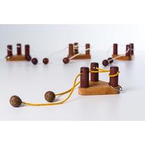 Jogo Quebra Cabeça Puzzle Três Pinos De Madeira Com Argola