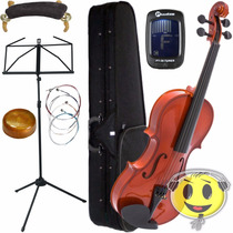 Kit Violino Giannini 4/4 Partitura Afinador Espaleira Breu