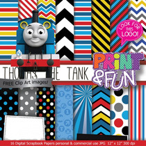 Kit Imprimible Pack Fondos Thomas Y El Tren Clipart