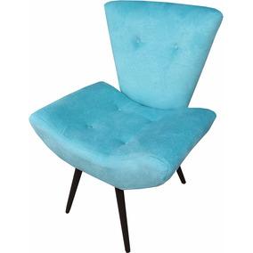 Cadeira Poltrona Decorativa Para Recepção Espera Sala Azul